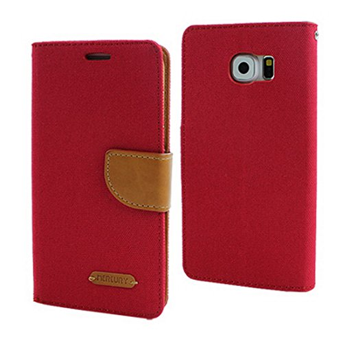 Funda de Cuero para Galaxy J5 J510 2016 5.2' Canvas Cover Wallet, rosso, Samsung Galaxy J5 J510 2016 5.2'