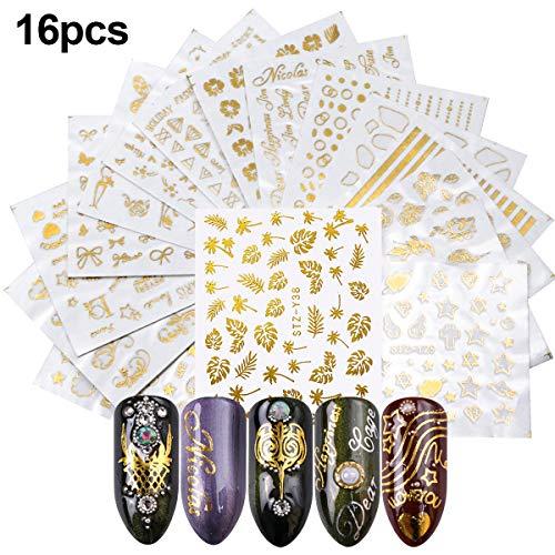 Dokpav Nagel Sticker Nagel Aufkleber Fingernägel Nail Stamping Wasser Transfer Folie für Kinder Mädchen Frauen DIY Anfänger Nagelstudio - Zufälliges Muster (16 Blätt)