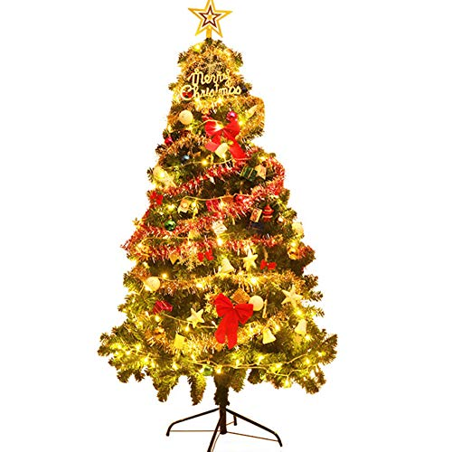 DULPLAY Pre-Lit Christmas Tree, Easy Setup Realistic Natural Fir Pre-lit Artificial Tree with LED Lights Pre-Decorated Holiday Decor -Green 4Ft(120cm)