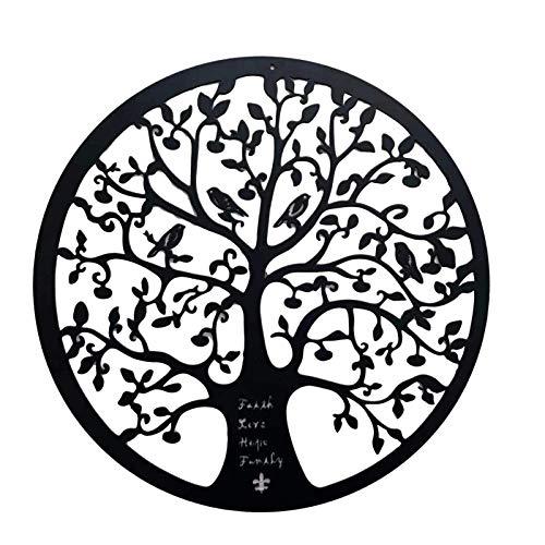 Baum Des Lebens Metallwandkunst | Hängende 3D-Zauberstab Silhouette Skulptur Handgemalte Lilie Innenwanddekoration Schlafzimmer Wohnzimmer Dekor