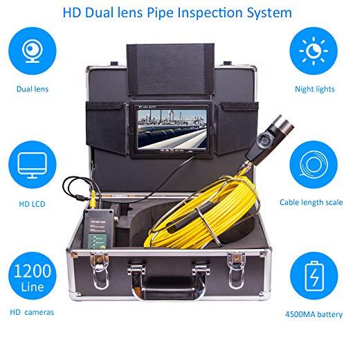 XIAODONGDONG Doppelobjektiv-Tubus-Endoskop Doppelobjektiv-Tubus-Kamera Rohrinterner Inspektionsdetektor Unterwasser-Straßeninspektionskamera,150M