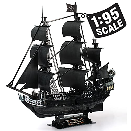 """CubicFun 3D Puzzles Large Pirate Ship 26.6"""" Difficult Watercraft Model Ship Building Kits Toys for Adults and Teens, Queen Anne's Revenge 308 Pieces"""