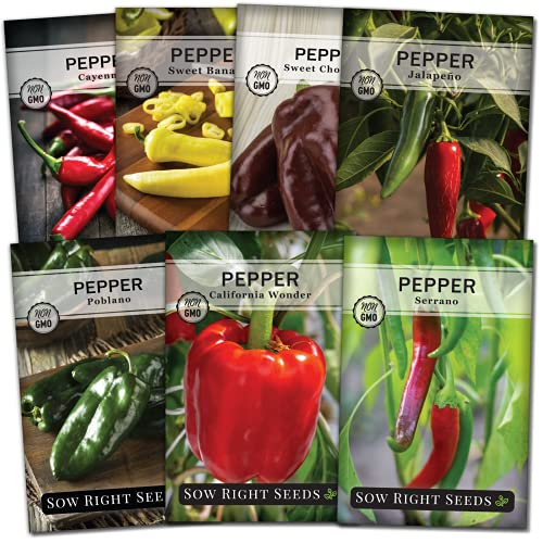 Sow Right Seeds - Pepper Seed Collection for Planting - Packets of Banana,...