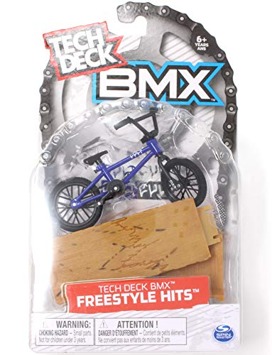 TD BMX Freestyle Hits Cult Blue and Black Finger Bike with Wood Ramp Obstacle