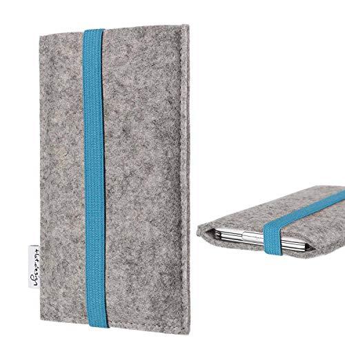 flat.design Handy Hülle Coimbra kompatibel mit BlackBerry KEY2 (Dual-SIM) - Schutz Hülle Tasche Filz Made in Germany hellgrau türkis