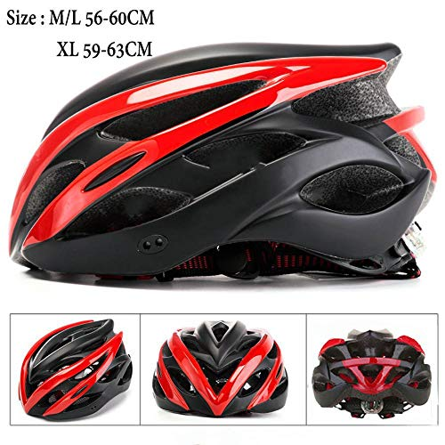 Casco da bici 4 colori ciclismo casco da bicicletta Donne uomini con Light mountain bike road MTB integralmente modellato 2020 casco da bici l56-60CM Red