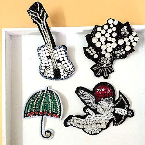Parche de cuentas de diamantes de imitación, hecho a mano, 4 piezas para guitarra estilo angelito