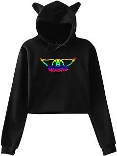 Aerosmith Cat Ear Sudadera con Capucha Sweater Girl Crop Top Hip Hop Warm Cool