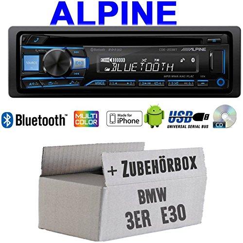Autoradio Radio Alpine CDE-203BT Bluetooth CD USB MP3 1-DIN Auto Einbauzubehör - Einbauset für BMW 3er E30 - JUST Sound Best Choice for caraudio