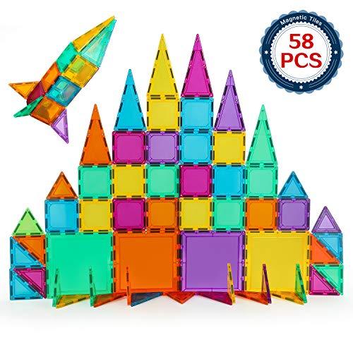 BMAG Magnetic Building Blocks, 3D Magnetic Building Tiles Set (58 Pcs)