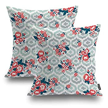 Shrahala Rose Floral Decorative Pillow Covers Pretty Pink Roses Girly Vintage Wallpaper Pattern Cushion Case for Sofa Bedroom Car Throw Pillow Covers Square 16 x 16 inches Pink 02 Set of 2