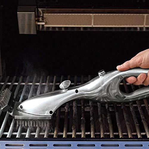 51djjnopbSL - LYN&xxx Grillreiniger mit Dampfkraft, Edelstahl BBQ Grill Bürstenkopf Plastikhandgriff für einfacher und effektiver reinigen, Geschenke für Grill-Assistenten Rost Reiniger 2 Pack