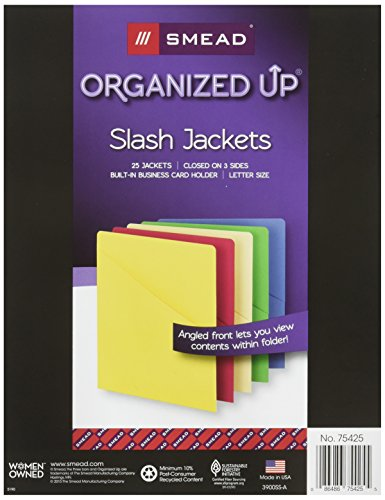 Smead Organized Up Slash File Jacket, Letter Size, Assorted Colors, 25 per Pack (75425)