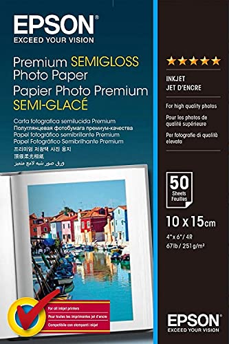 Epson C13S041765 Premium semi gloss Photopapier Inkjet 251g/m2 100 x 150 mm 50 Blatt Pack