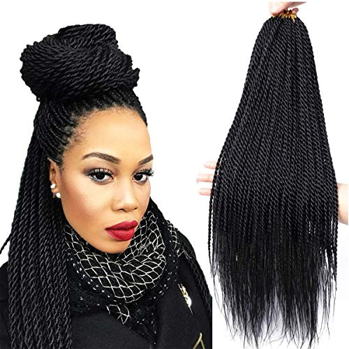 Senegalese Twist Crochet Hair 4 Colors Avaliable for Women Low Temperature Fiber Synthetic Senegalese Twist Hair Extensions 8Packs 34~35 Stands/Pack (22 Inch, 1B)