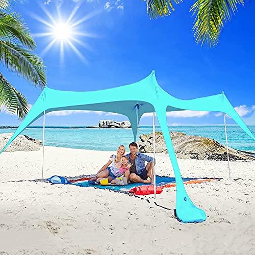 YQZ Sombrilla emergente para Carpa de Playa, UPF50 + Toldo de Playa, toldo para el Sol, toldo para Carpa al Aire Libre, 4 Postes de Estabilidad, Accesorios, para Pesca, Camping