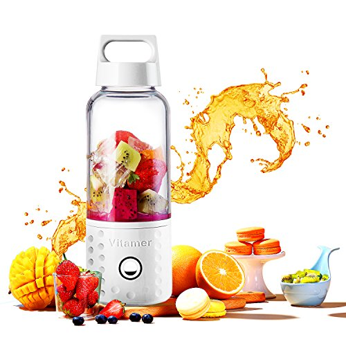 Portable Blender, TOPQSC Smoothie Blender USB Juicer Cup, 17oz Fruit Mixing Machine with 4000mAh Rechargeable Batteries, FDA/BPA Free, Perfect Blender for Personal Use-White