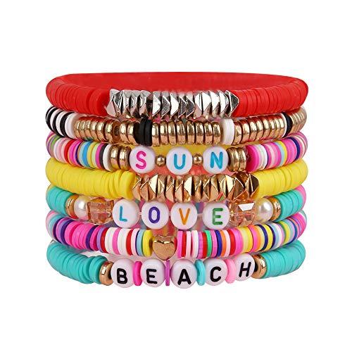 yansport Colorful Surfer Stretch Bracelet, Letter Vinyl Beads Bracelet Set,...