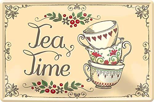 Tea Time Tee Zeit Teetrinker 20 x 30 cm Spruch Küche Deko Blechschild 352