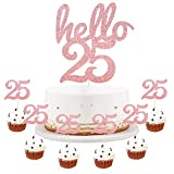 LVEUD Rose Gold Glitter Hello 25 Cake Topper - 25th Birthday/Wedding Party Decoration/ Happy 25th Birthday Cake Topper,Hello 25,Cheers to 25 Years,25 & Fabulous Party Decoration(7 Piece Set) (25)