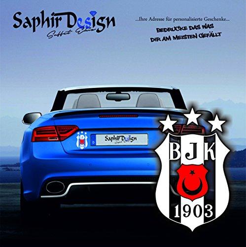 Saphir Design Original Besiktas 3Yildiz mit rotem Wappen/Türkiye/Sehr Coole Autoaufkleber / 10x15cm / A149 Farbe Weiss