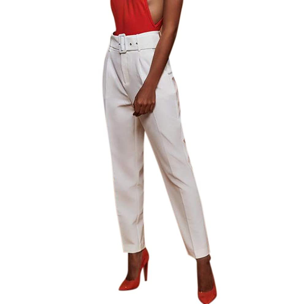 Huazi2 Women Loose Pencil Pants Ladies Solid High Waisted Stretch Trousers