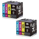 Jagute 34XL Compatibile Cartucce d'inchiostro Sostituzione per Epson 34 34XL per Stampante Epson WorkForce Pro WF-3725DWF WF-3720DWF WF3725 WF3720 (2 Nero, 2 Ciano, 2 Magenta, 2 Giallo)