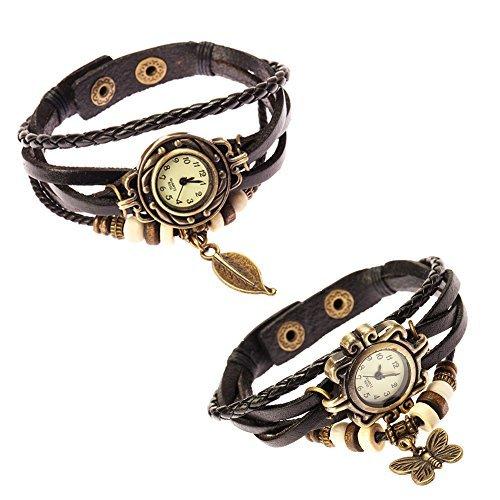 Fantástico juego de{2} diseño vintage mujer relojes de pulsera de cuero trenzado con bandas de correa de pulsera en colour negro, diseño de perlas y bronce hojas Fromen de mariposa colgante de la VAGA