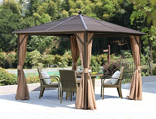 Erommy Outdoor Hardtop Gazebo Canopy Curtains Aluminum Furniture with Netting for Garden,Patio,Lawns,Parties (Galvanized Steel10'×10')