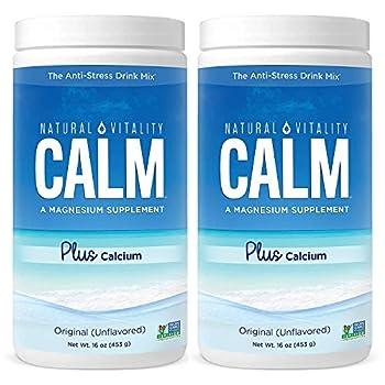Natural Vitality Natural Magnesium Calm Plus Calcium  2 Bottles of 16 Ounce