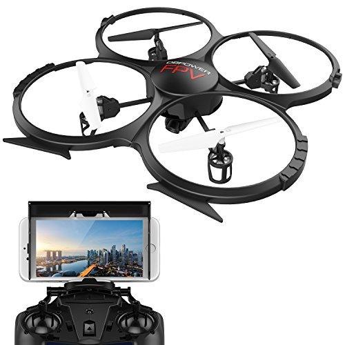 WIFI FPV Version U818A Drone with 720P HD Camera DBPOWER Headless Mode Quadcopter with 2 Batteries Long Flying Time Drone...