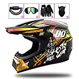 LEENY Cascos de Motocross Adulto Cascos de Cross Moto Set con Gafas/Guantes/Máscara/Candado de Bicicleta, Cascos de Motos Scooter ATV MTB BMX Off-Road Enduro Downhill Racing Casco,D,M(54cm~55cm)