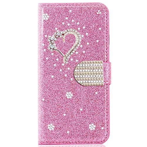 Miagon für Samsung Galaxy A51 Glitzer Brieftasche Hülle,3D Diamant PU Leder Case Kartenslots Ständer Strass Wallet Flip Cover,Herz Rosa