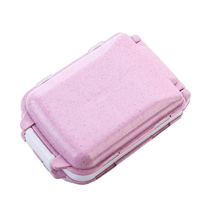 super1798 Portable Mini Business Trips Travel Wheat Straw Pill Box Medicine Storage Case Holder Organizer Pink