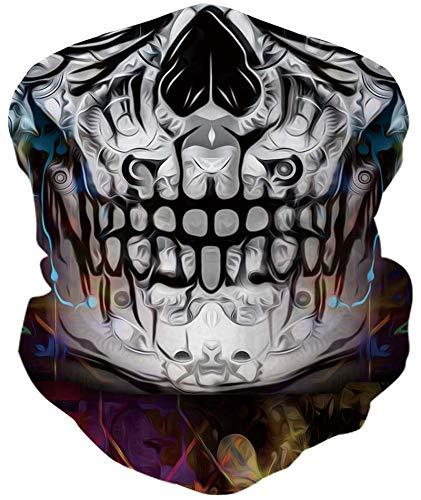 Loveternal Schädel Multifunktionstuch Skull Kopftuch Nahtloses Halstuch Sport-Halstuch,Stirnband, Bikertuch,Unisex,Schnelltrocknend - Winddicht Face Scarf für Staub, im Freien, Sport,Festivals