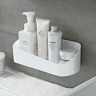 SUNFICON Shower Caddy Adhesive Bathroom Shelf Organizer Wall Mounted Storage Rack No Drilling Shower Shelf Bath Essentials Shampoo Spices Holder w Clear Adhesive for Shower Room Bathroom Kitchen,White
