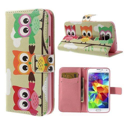 NALIA Klapphülle kompatibel mit Samsung Galaxy S5 S5 Neo, Hülle Slim Flip-Case Kunst-Leder Vegan Phone Etui Schutzhülle Book-Case Dünn, Vorne Hinten Handy-Tasche Wallet Bumper - Owl Threesome Edition