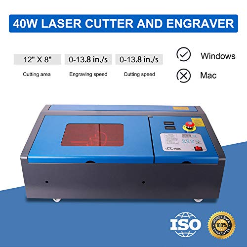 OMTech 40W CO2 Laser Engraver Cutter with 12 x 8in Work Area, Desktop K40 Laser Engraving Machine with Digital Control, Red Dot Pointer, Detachable Wheels, Compact for DIY Home Office
