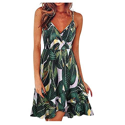 FQZWONG Women's Summer Mini Adjustable Spaghetti Dress Holiday Floral Print Wrap V Neck Dress Casual Ruffle Dress for Beach(A-Green,Small)
