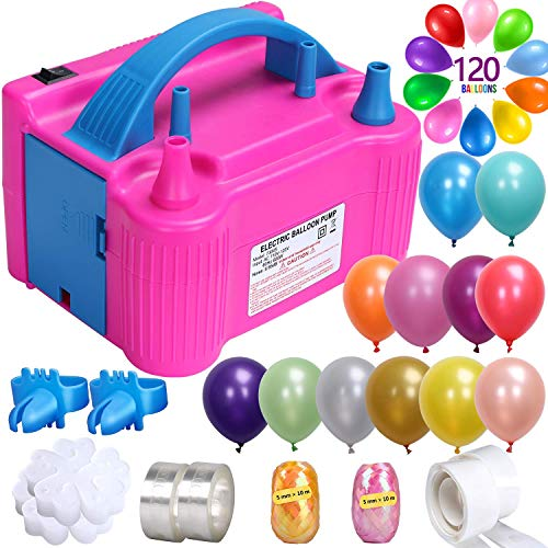 ZMYGOLON 149 PCS Balloon Pump Kit, Portable Dual Nozzle 600W 110V Electric Balloon Blower Inflator with 120 Assorted Balloons, 28 PCS Decorating Strip Kit (Rose Red)