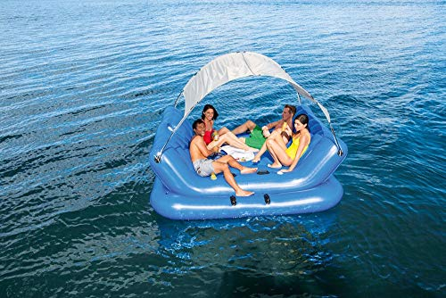 DKZK Giant Inflatable Floating Row, Floating Bed Tent Inflatable Pontoon Fishing Raft Floating Row Floating Platform Super Large Multiplayer Swimming Sports Equipment