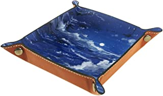 JINGTIAN Anime Girl Night Moon Folding Dice Tray, PU Leather Dice Holder Rolling Trays for RPG Dice Gaming D&D and Other Table Games