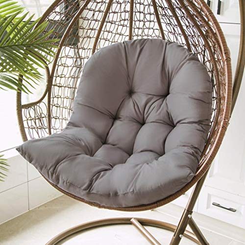 Hanging Basket Hanging Egg Chair Cushions,Indoor/Outdoor Swing Chair Cushion,Soft Thicken Comfy Hanging Egg Hammock Chair Seat Pads Back Cushion Pillow,Basket Chair Cushion for Patio Garden (E/Gray)