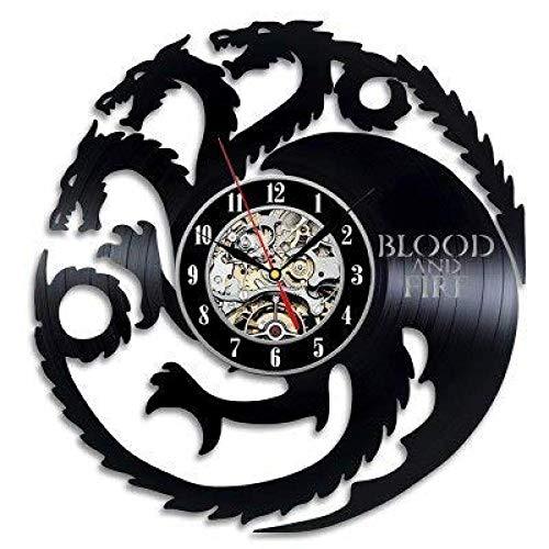 tianqiABC Kovides Blood and Fire Vintage Wall Clock WW0710-63 Got Serial Art Retro Vinyl Record Clock Game of Thrones Decoración de la habitación Idea de Regalo para Fan Game of Thrones Wall Clock