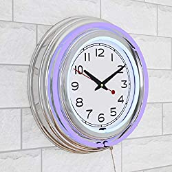 Lavish Home Retro Neon Wall Clock - Battery Operated Wall Clock Vintage Bar Garage Kitchen Game Room – 14 Inch Round Analog (Purple and White)