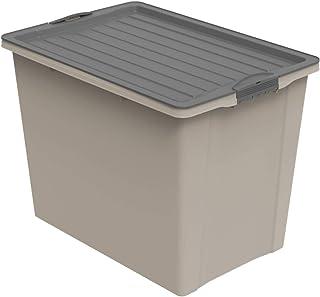 Rotho Compact Boîte de Rangement 70L avec Couvercle et Roulettes, Plastique (PP Recyclé) sans BPA, CaPPuccino/Anthracite, ...