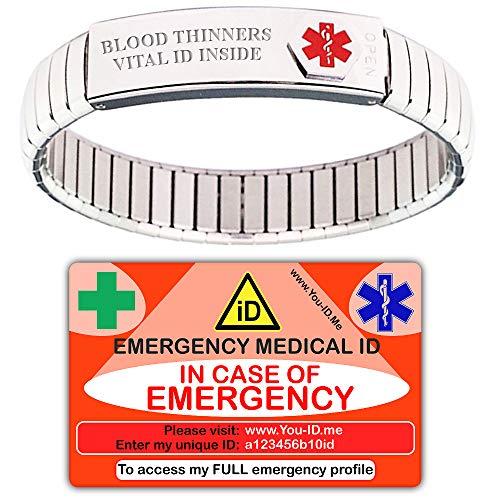 Medische armband, medische waarschuwingsarmband, nood-id-portemonneekaart, gepersonaliseerde armband, medi-armband, vrouwen of mannen, roestvrijstalen medische waarschuwingsarmband