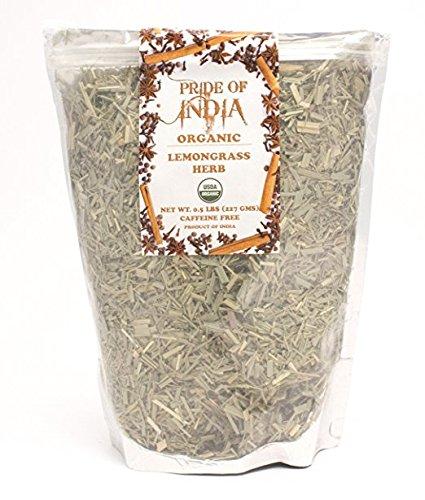 Pride Of India - Biologisch droog Indisch citroengraskruid, 100 gm vol blad - Gecertificeerd en authentiek Indiaas kruid - Perfect om te koken, soepen, salades, marinades 50+ porties