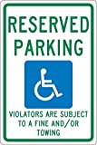 NMC TMS325G Reserved Parking - Violators are Subject to A FINE and/OR Towing Sign, New Mexico - 12 in. x 18 in. Standard Aluminum Sign with Graphic
