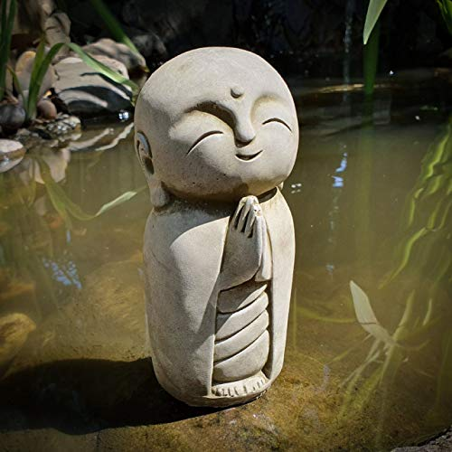 Garden Monk Child Praying position Frost Proof Grey Stone Concrete Ornaments